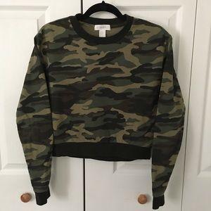 Forever 21 Green Camo Print Sweatshirt